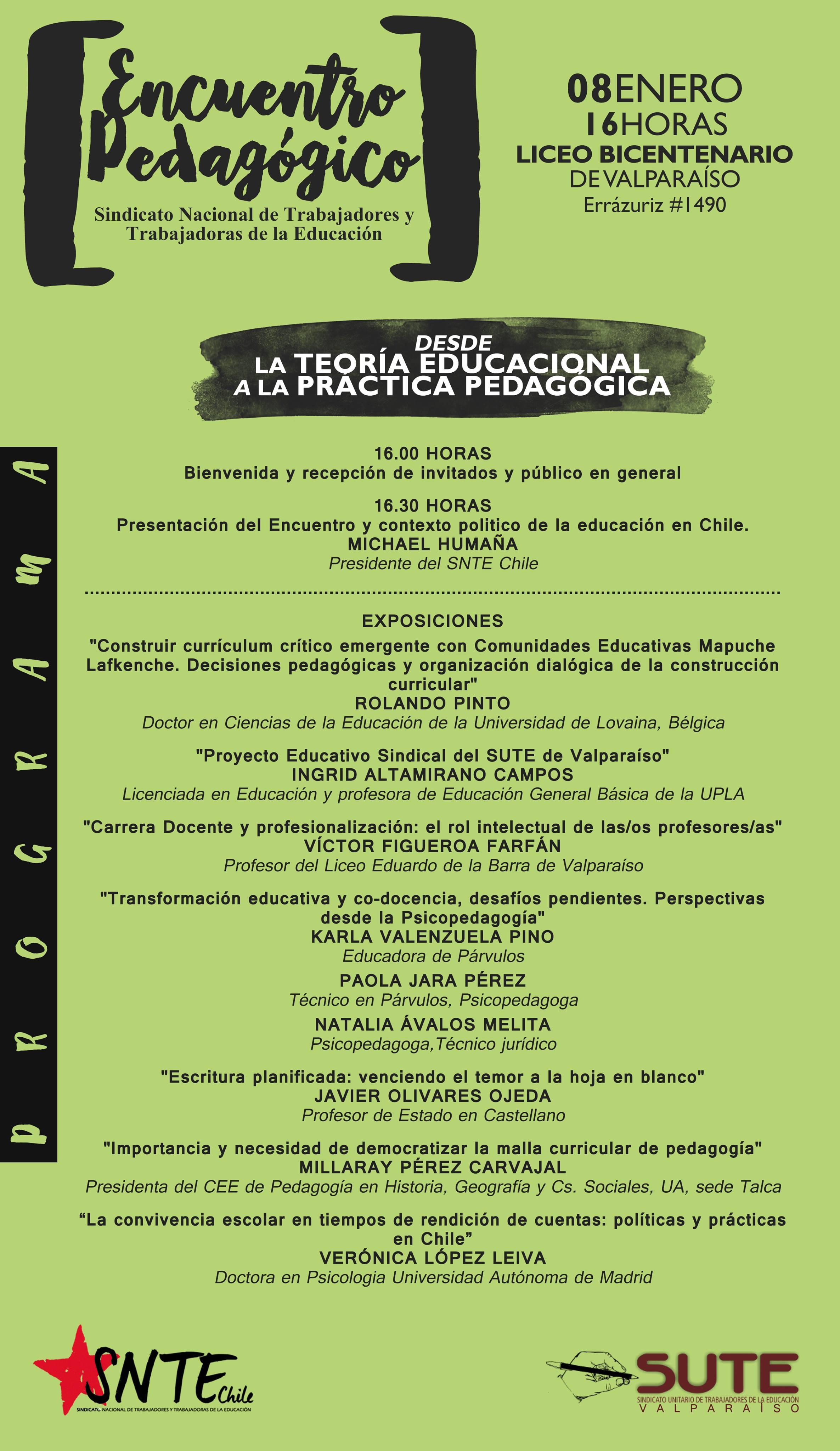 PROGRAMA ENCUENTRO PEDAGÓGICO: DESDE LA TEORIA EDUCACIONAL A LA ...